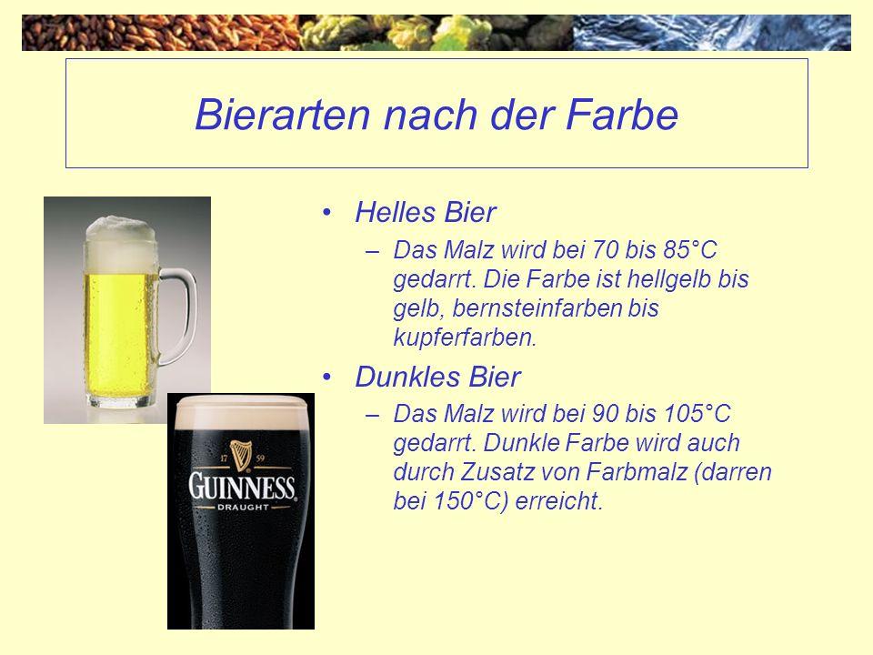 Bierarten nach der Farbe Helles Bier –Das Malz wird bei 70 bis 85°C gedarrt. Die Farbe ist hellgelb bis gelb, bernsteinfarben bis kupferfarben. Dunkle
