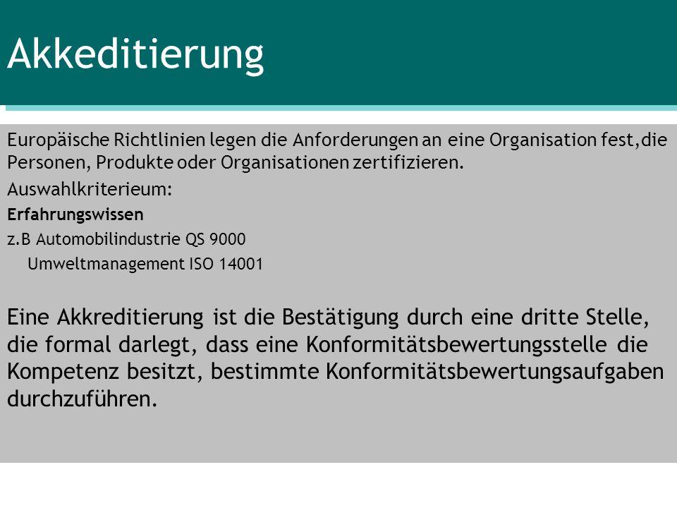 Akkeditierung Europäische Richtlinien legen die Anforderungen an eine Organisation fest,die Personen, Produkte oder Organisationen zertifizieren. Ausw