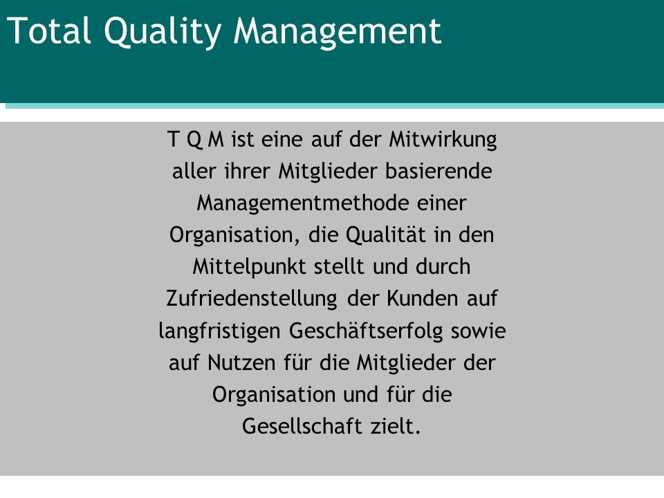Total Quality Management T Q M ist eine auf der Mitwirkung aller ihrer Mitglieder basierende Managementmethode einer Organisation, die Qualität in den