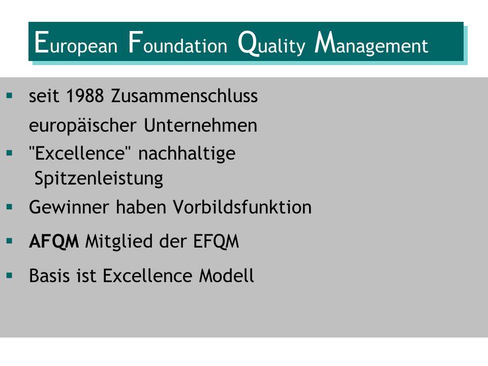 E uropean F oundation Q uality M anagement seit 1988 Zusammenschluss europäischer Unternehmen