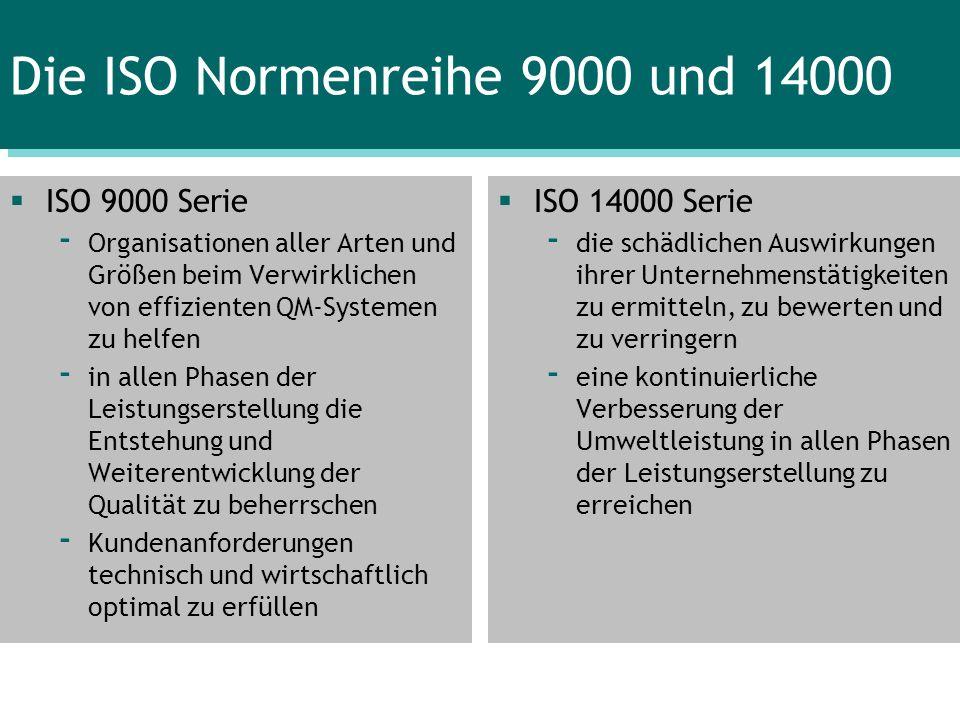Die ISO Normenreihe 9000 und 14000 ISO 9000 Serie - Organisationen aller Arten und Größen beim Verwirklichen von effizienten QM-Systemen zu helfen - i
