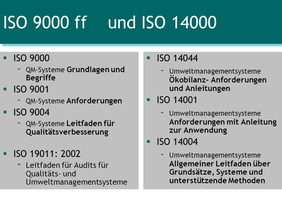 ISO 9000 ff und ISO 14000 ISO 9000 - QM-Systeme Grundlagen und Begriffe ISO 9001 - QM-Systeme Anforderungen ISO 9004 - QM-Systeme Leitfaden für Qualit