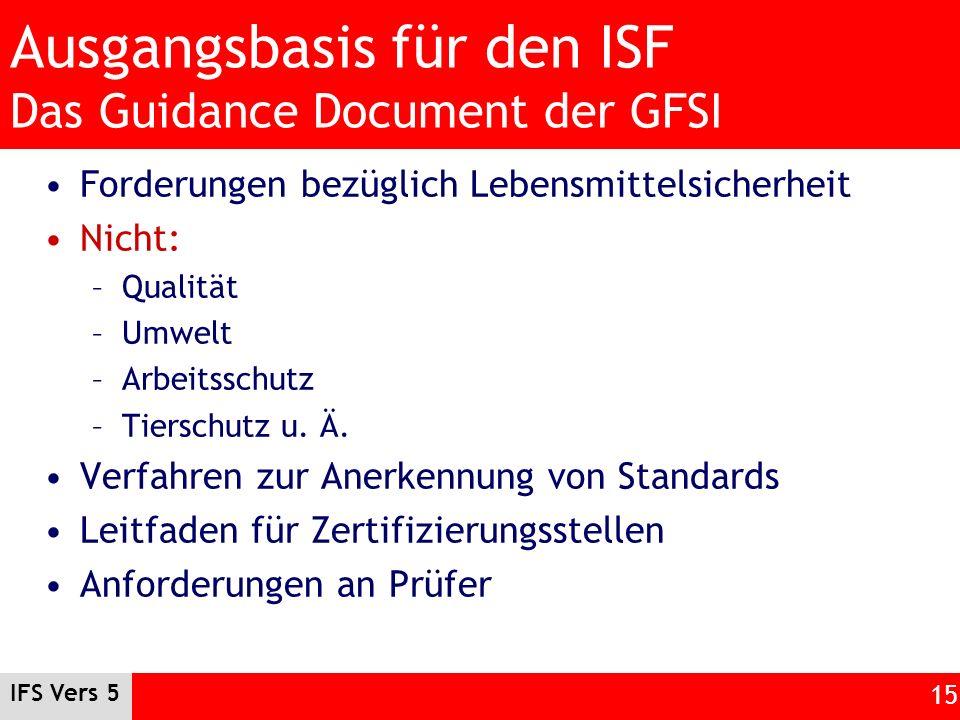 IFS Vers 5 15 Ausgangsbasis für den ISF Das Guidance Document der GFSI Forderungen bezüglich Lebensmittelsicherheit Nicht: –Qualität –Umwelt –Arbeitss