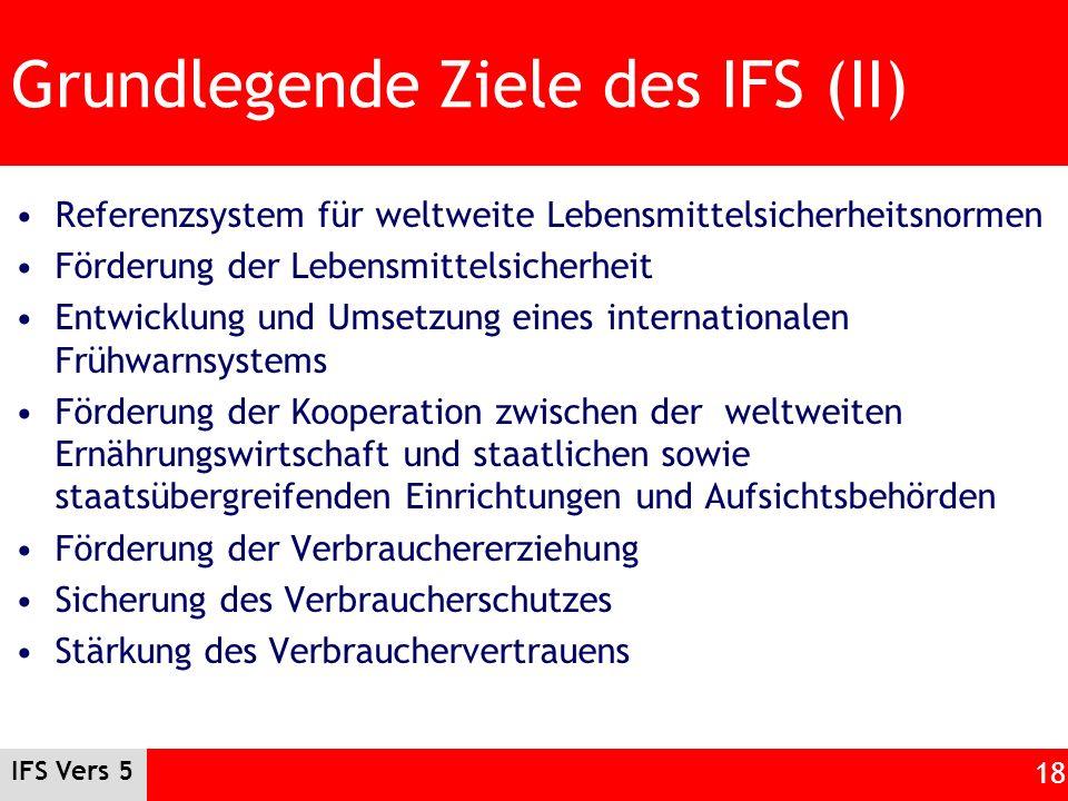 IFS Vers 5 18 Grundlegende Ziele des IFS (II) Referenzsystem für weltweite Lebensmittelsicherheitsnormen Förderung der Lebensmittelsicherheit Entwickl