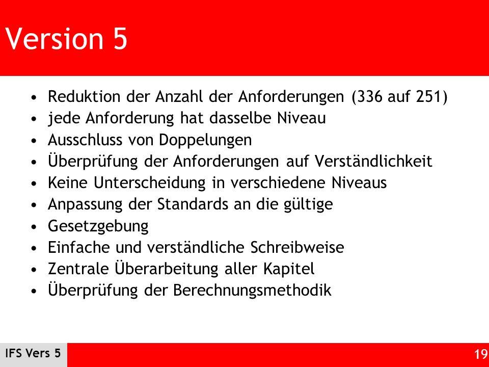 IFS Vers 5 19 Version 5 Reduktion der Anzahl der Anforderungen (336 auf 251) jede Anforderung hat dasselbe Niveau Ausschluss von Doppelungen Überprüfu