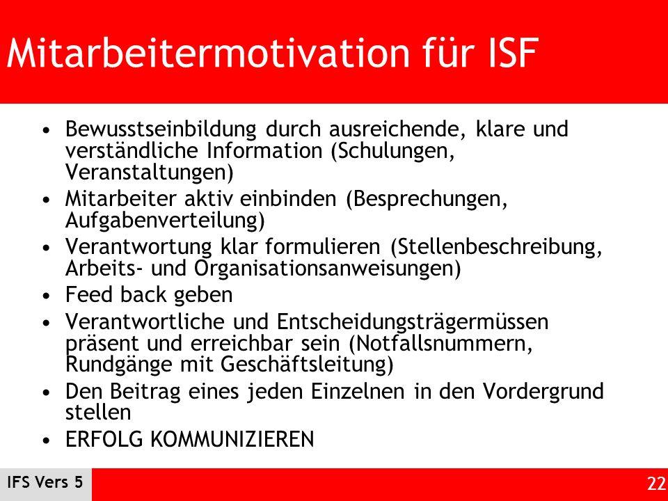 IFS Vers 5 22 Mitarbeitermotivation für ISF Bewusstseinbildung durch ausreichende, klare und verständliche Information (Schulungen, Veranstaltungen) M