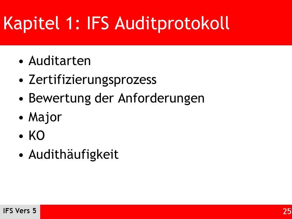 IFS Vers 5 25 Kapitel 1: IFS Auditprotokoll Auditarten Zertifizierungsprozess Bewertung der Anforderungen Major KO Audithäufigkeit