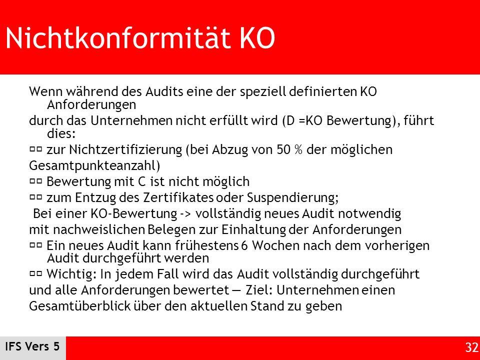 IFS Vers 5 32 Nichtkonformität KO Wenn während des Audits eine der speziell definierten KO Anforderungen durch das Unternehmen nicht erfüllt wird (D =