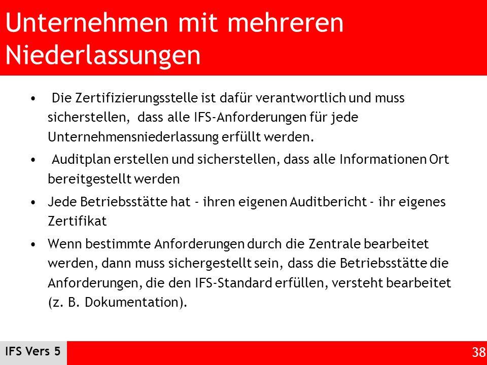 IFS Vers 5 38 Unternehmen mit mehreren Niederlassungen Die Zertifizierungsstelle ist dafür verantwortlich und muss sicherstellen, dass alle IFS-Anford