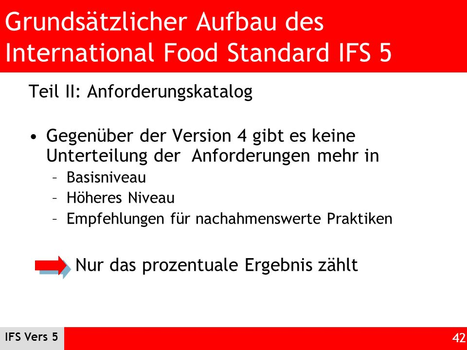 IFS Vers 5 42 Grundsätzlicher Aufbau des International Food Standard IFS 5 Teil II: Anforderungskatalog Gegenüber der Version 4 gibt es keine Untertei