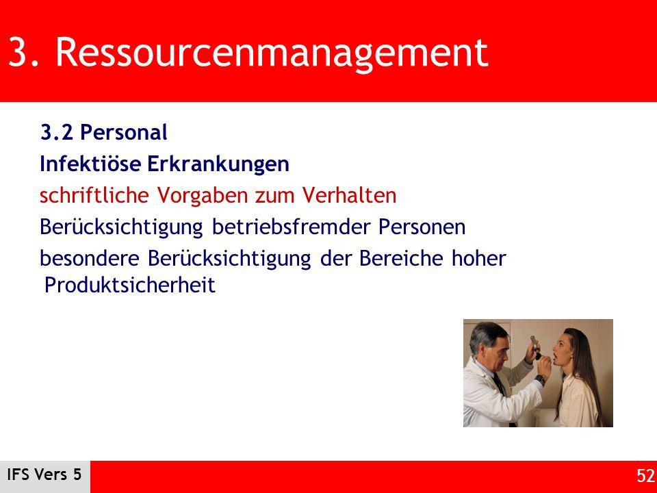 IFS Vers 5 52 3. Ressourcenmanagement 3.2 Personal Infektiöse Erkrankungen schriftliche Vorgaben zum Verhalten Berücksichtigung betriebsfremder Person