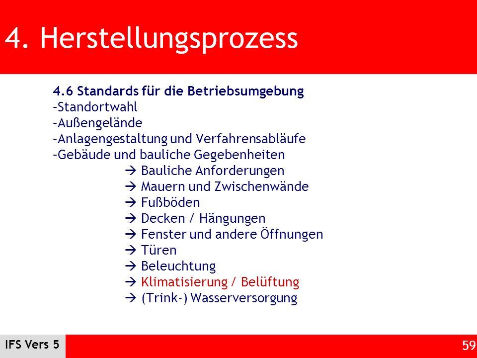 IFS Vers 5 59 4. Herstellungsprozess 4.6 Standards für die Betriebsumgebung –Standortwahl –Außengelände –Anlagengestaltung und Verfahrensabläufe –Gebä