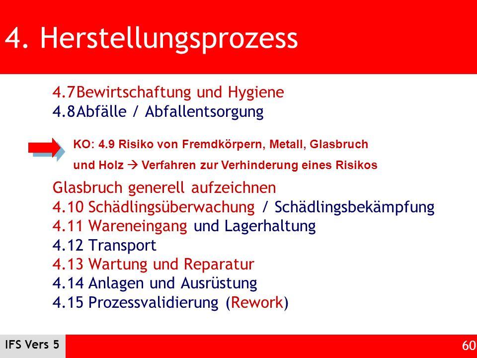 IFS Vers 5 60 4. Herstellungsprozess 4.7Bewirtschaftung und Hygiene 4.8Abfälle / Abfallentsorgung Glasbruch generell aufzeichnen 4.10 Schädlingsüberwa