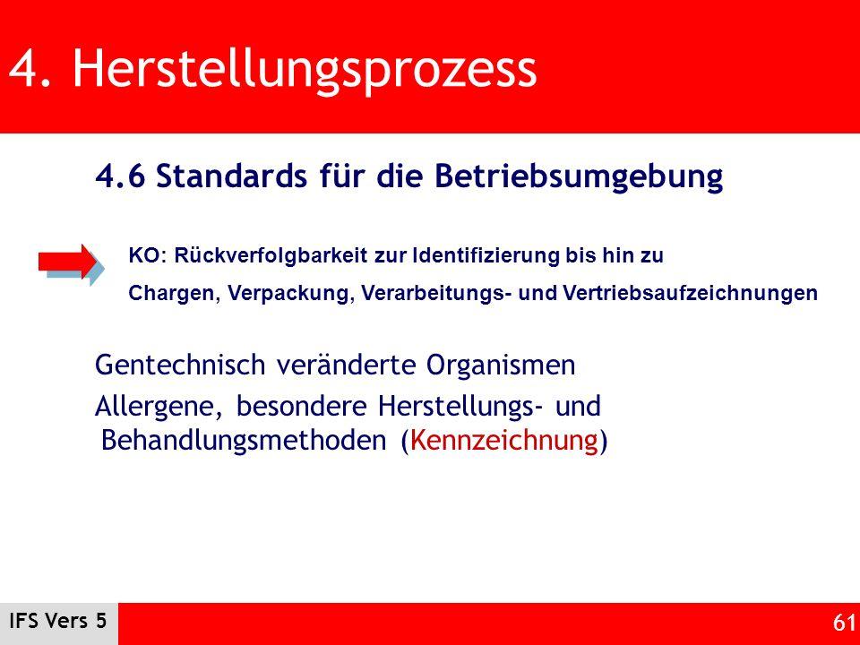 IFS Vers 5 61 4. Herstellungsprozess 4.6 Standards für die Betriebsumgebung Gentechnisch veränderte Organismen Allergene, besondere Herstellungs- und