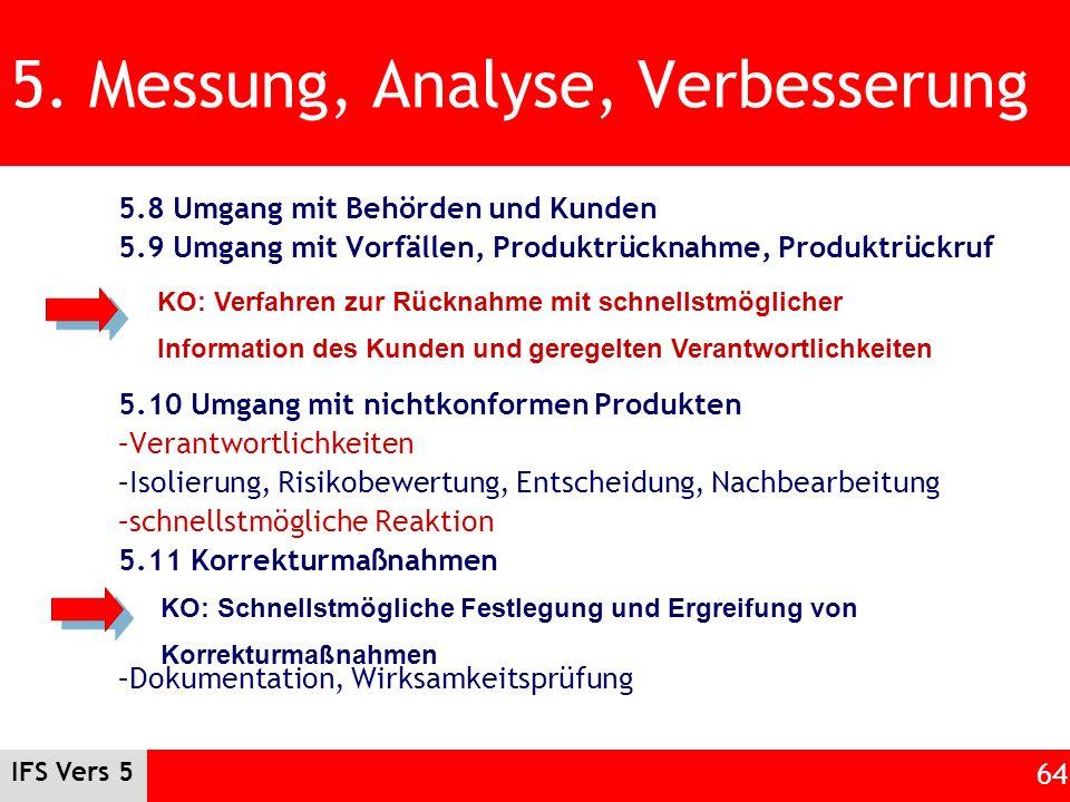 IFS Vers 5 64 5. Messung, Analyse, Verbesserung 5.8 Umgang mit Behörden und Kunden 5.9 Umgang mit Vorfällen, Produktrücknahme, Produktrückruf 5.10 Umg