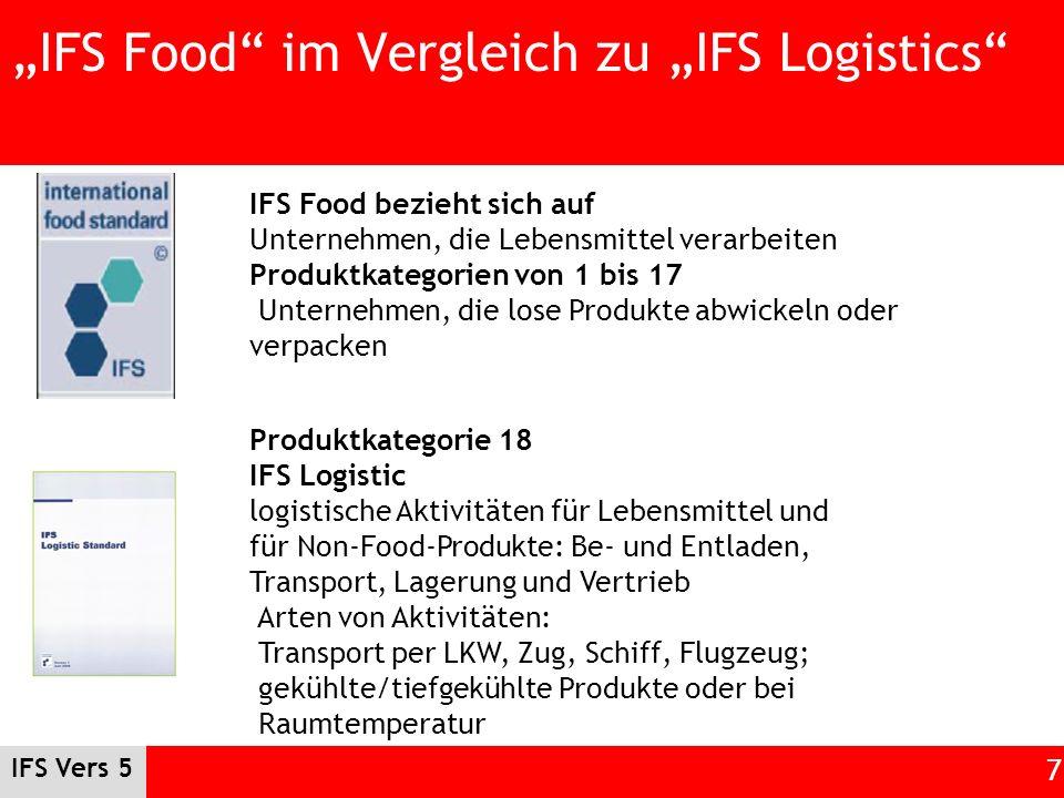 IFS Vers 5 7 IFS Food im Vergleich zu IFS Logistics IFS Food bezieht sich auf Unternehmen, die Lebensmittel verarbeiten Produktkategorien von 1 bis 17