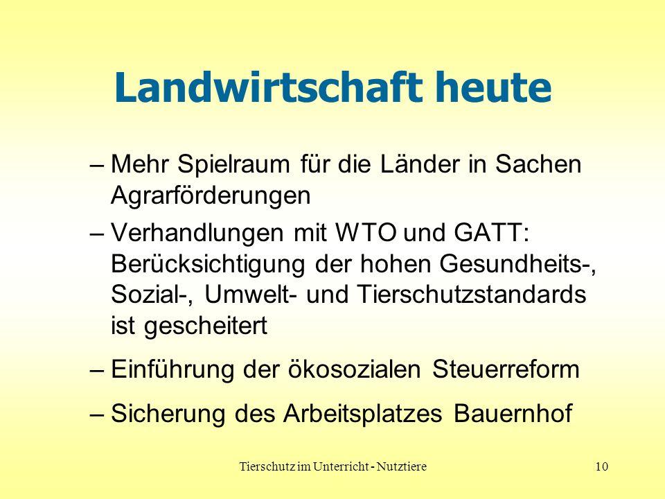 Tierschutz im Unterricht - Nutztiere10 Landwirtschaft heute –Mehr Spielraum für die Länder in Sachen Agrarförderungen –Verhandlungen mit WTO und GATT: