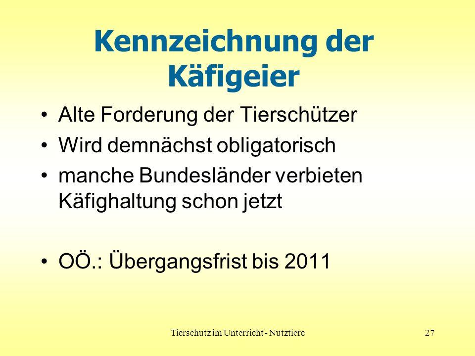Tierschutz im Unterricht - Nutztiere27 Kennzeichnung der Käfigeier Alte Forderung der Tierschützer Wird demnächst obligatorisch manche Bundesländer verbieten Käfighaltung schon jetzt OÖ.: Übergangsfrist bis 2011