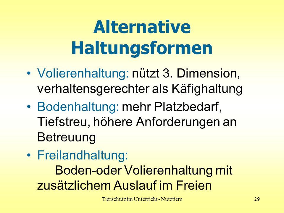 Tierschutz im Unterricht - Nutztiere29 Alternative Haltungsformen Volierenhaltung: nützt 3.