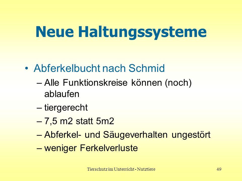 Tierschutz im Unterricht - Nutztiere49 Neue Haltungssysteme Abferkelbucht nach Schmid –Alle Funktionskreise können (noch) ablaufen –tiergerecht –7,5 m