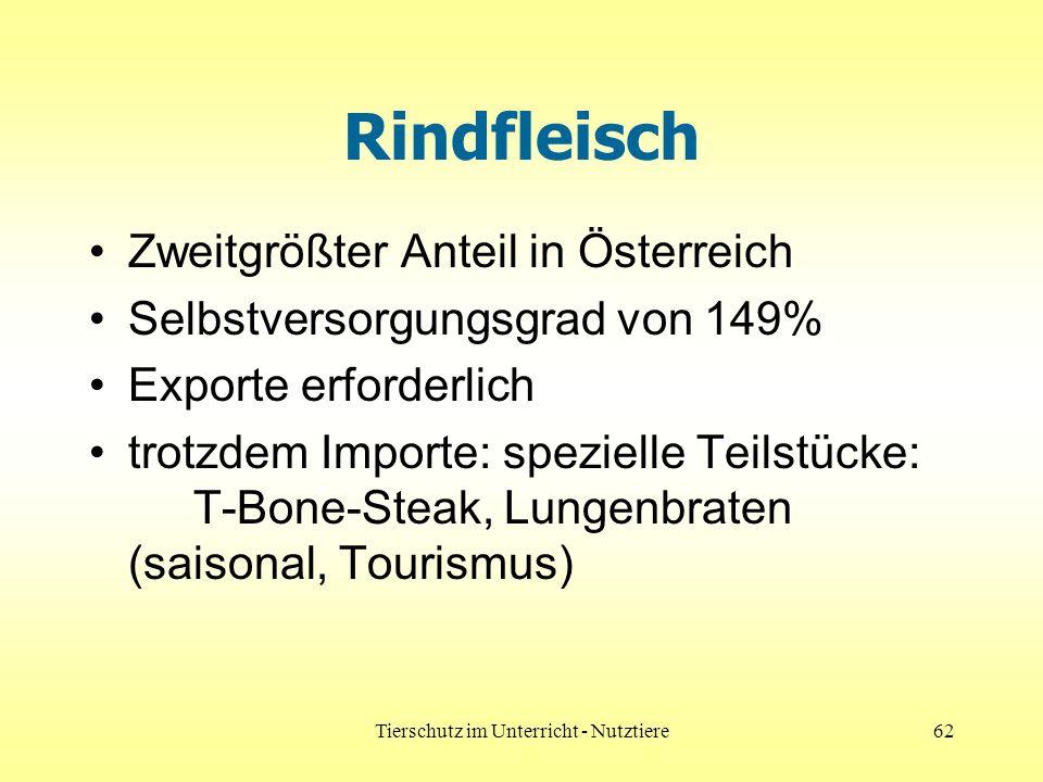 Tierschutz im Unterricht - Nutztiere62 Rindfleisch Zweitgrößter Anteil in Österreich Selbstversorgungsgrad von 149% Exporte erforderlich trotzdem Importe: spezielle Teilstücke: T-Bone-Steak, Lungenbraten (saisonal, Tourismus)