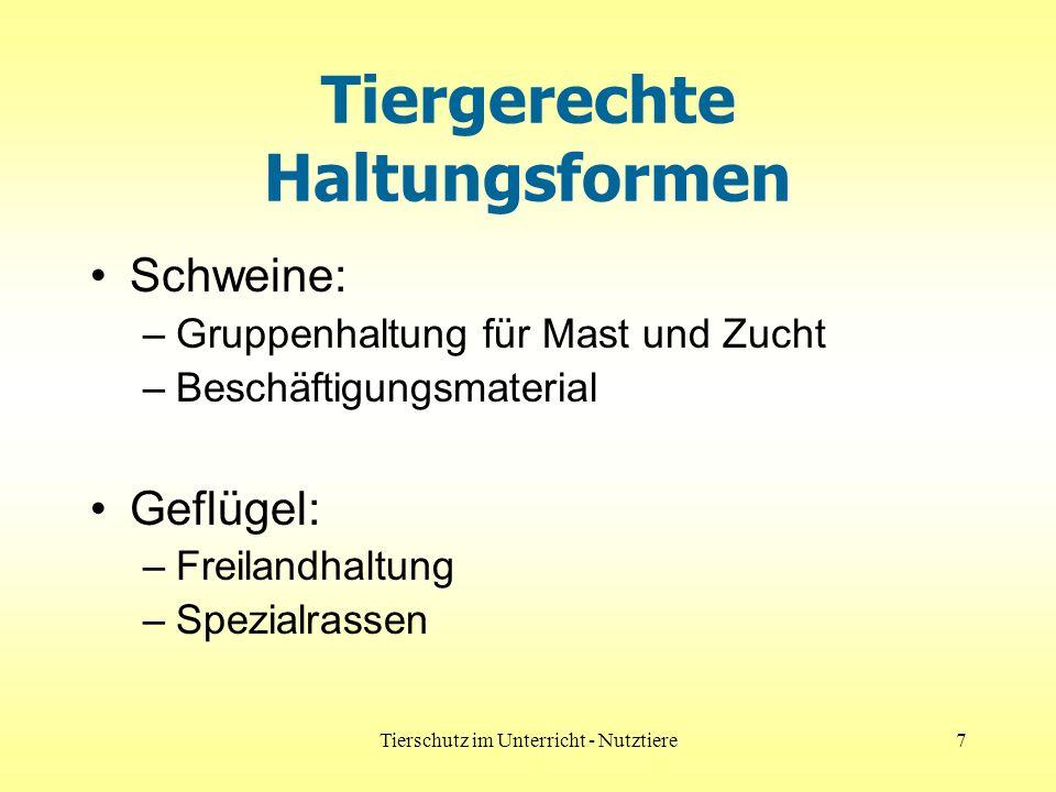 Tierschutz im Unterricht - Nutztiere7 Tiergerechte Haltungsformen Schweine: –Gruppenhaltung für Mast und Zucht –Beschäftigungsmaterial Geflügel: –Frei