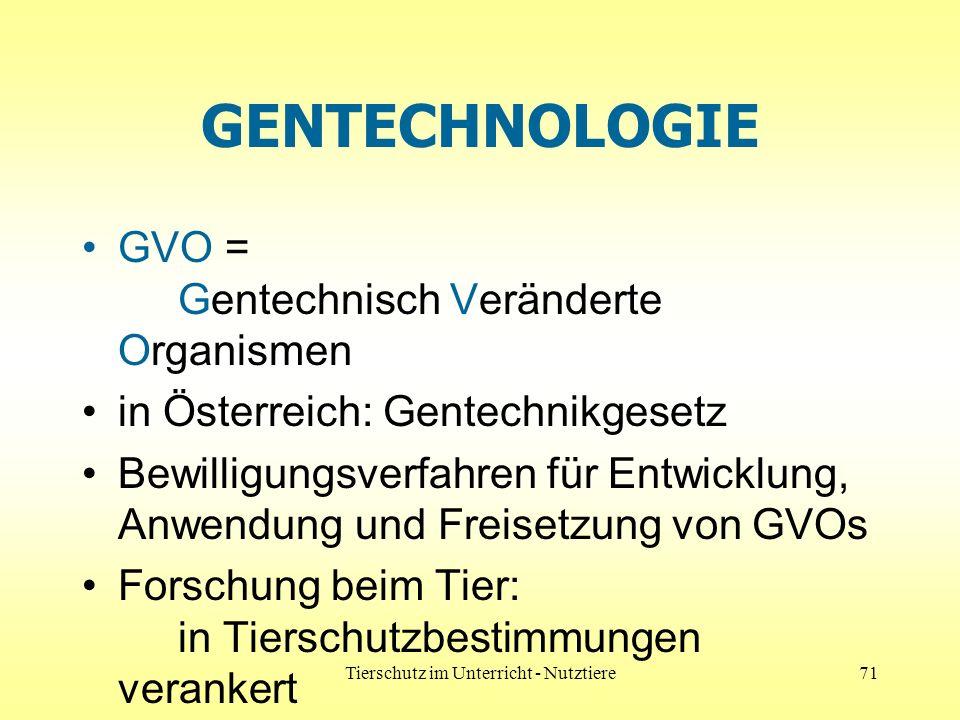 Tierschutz im Unterricht - Nutztiere71 GENTECHNOLOGIE GVO = Gentechnisch Veränderte Organismen in Österreich: Gentechnikgesetz Bewilligungsverfahren f
