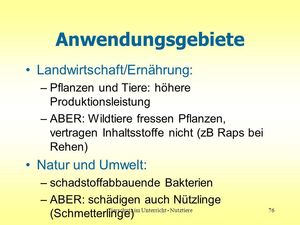 Tierschutz im Unterricht - Nutztiere76 Anwendungsgebiete Landwirtschaft/Ernährung: –Pflanzen und Tiere: höhere Produktionsleistung –ABER: Wildtiere fr