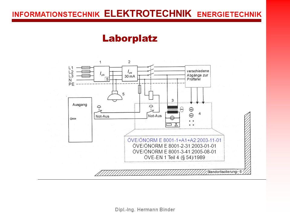 INFORMATIONSTECHNIK ELEKTROTECHNIK ENERGIETECHNIK Dipl.-Ing. Hermann Binder Laborplatz ÖVE/ÖNORM E 8001-1+A1+A2:2003-11-01 ÖVE/ÖNORM E 8001-2-31:2003-