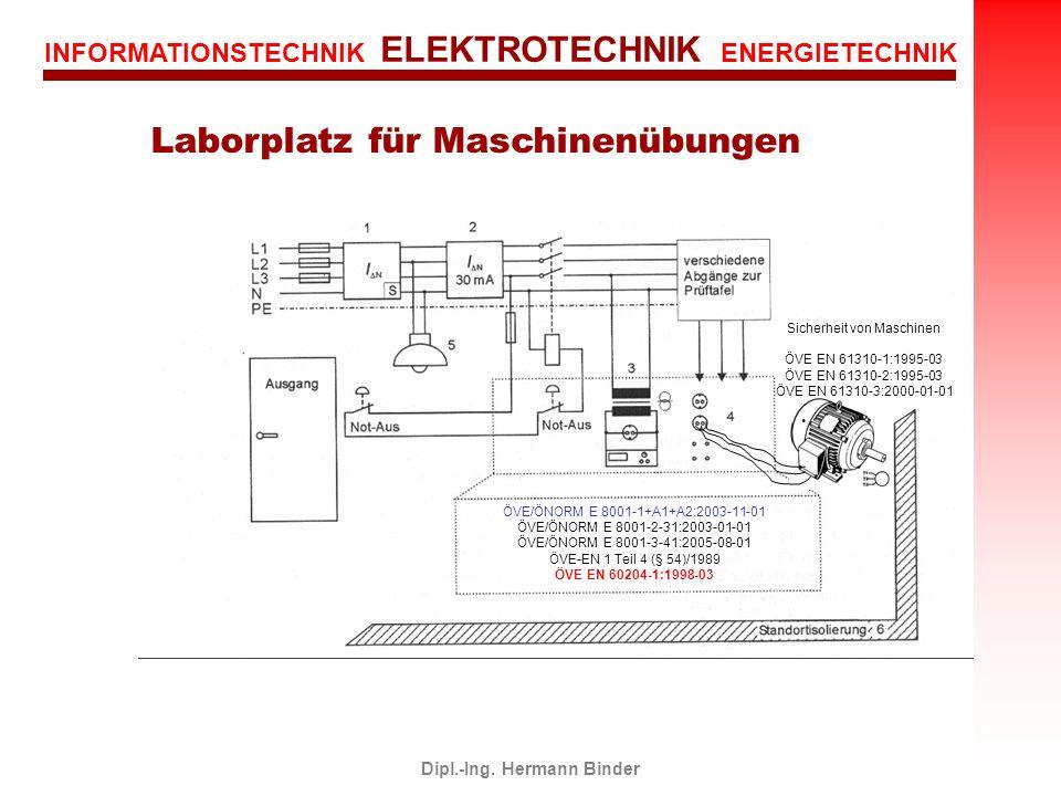 INFORMATIONSTECHNIK ELEKTROTECHNIK ENERGIETECHNIK Dipl.-Ing. Hermann Binder Laborplatz für Maschinenübungen ÖVE/ÖNORM E 8001-1+A1+A2:2003-11-01 ÖVE/ÖN