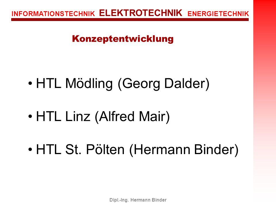 INFORMATIONSTECHNIK ELEKTROTECHNIK ENERGIETECHNIK Dipl.-Ing. Hermann Binder HTL Mödling (Georg Dalder) HTL Linz (Alfred Mair) HTL St. Pölten (Hermann