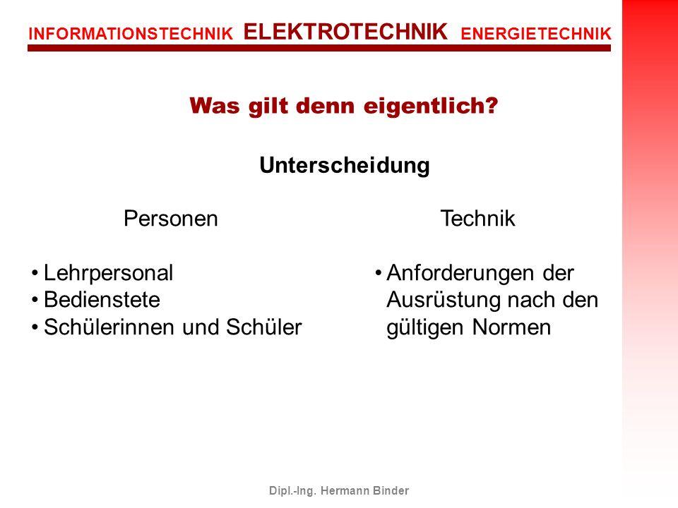 INFORMATIONSTECHNIK ELEKTROTECHNIK ENERGIETECHNIK Dipl.-Ing. Hermann Binder Was gilt denn eigentlich? Unterscheidung Personen Lehrpersonal Bedienstete