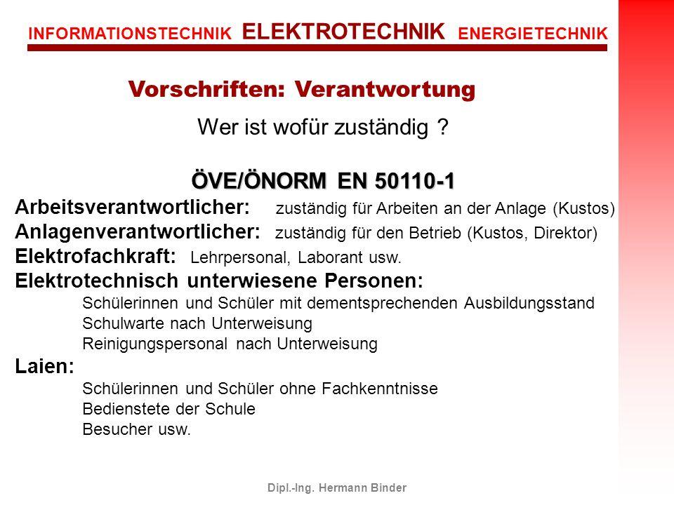 INFORMATIONSTECHNIK ELEKTROTECHNIK ENERGIETECHNIK Dipl.-Ing. Hermann Binder Wer ist wofür zuständig ? ÖVE/ÖNORM EN 50110-1 Arbeitsverantwortlicher: zu