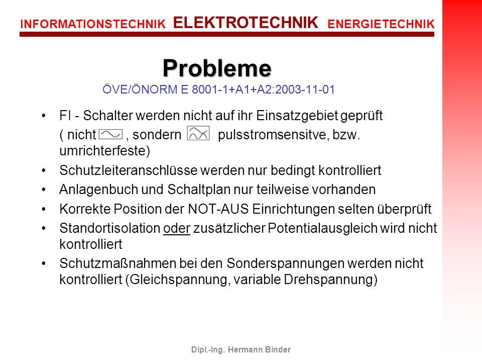 INFORMATIONSTECHNIK ELEKTROTECHNIK ENERGIETECHNIK Dipl.-Ing. Hermann Binder FI - Schalter werden nicht auf ihr Einsatzgebiet geprüft ( nicht, sondern
