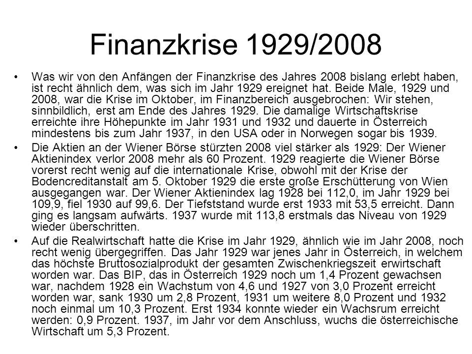 Finanzkrise 1929/2008 Was wir von den Anfängen der Finanzkrise des Jahres 2008 bislang erlebt haben, ist recht ähnlich dem, was sich im Jahr 1929 erei