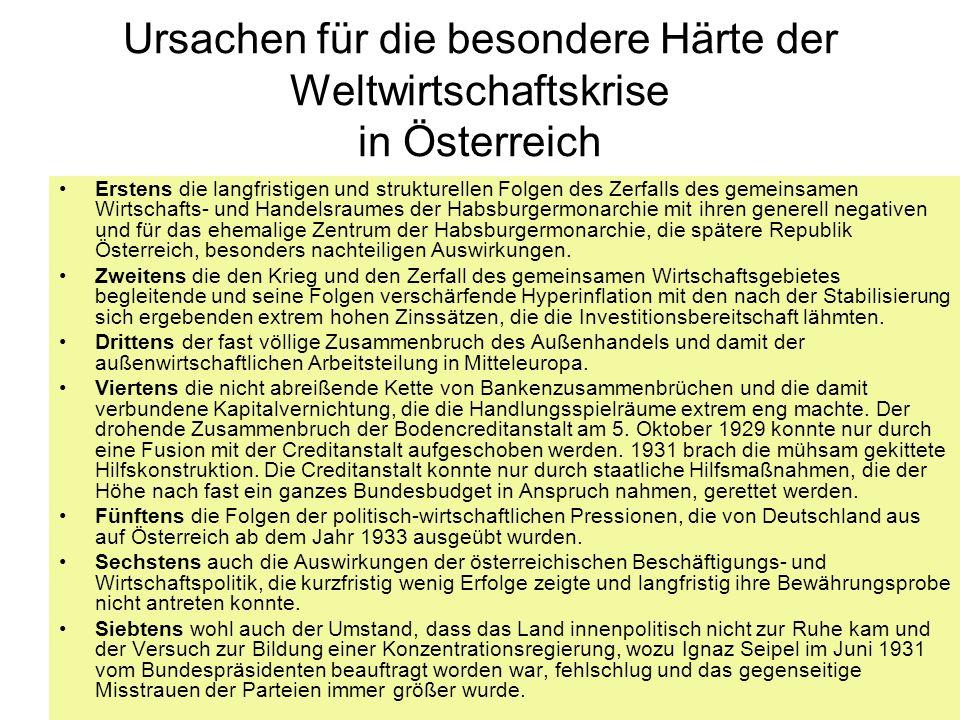Ursachen für die besondere Härte der Weltwirtschaftskrise in Österreich Erstens die langfristigen und strukturellen Folgen des Zerfalls des gemeinsame