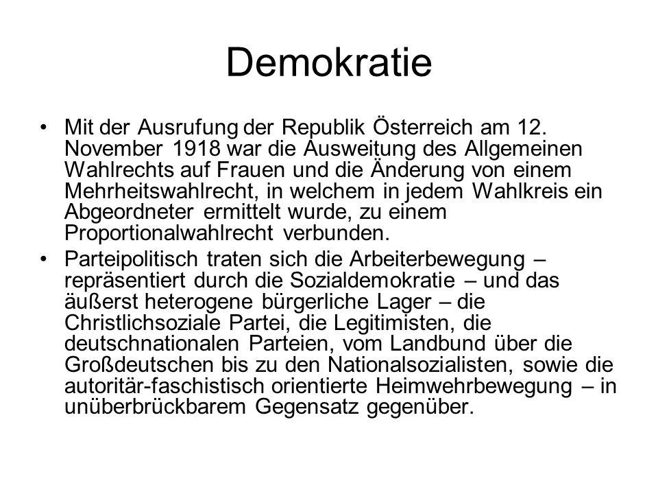 Demokratie Mit der Ausrufung der Republik Österreich am 12. November 1918 war die Ausweitung des Allgemeinen Wahlrechts auf Frauen und die Änderung vo