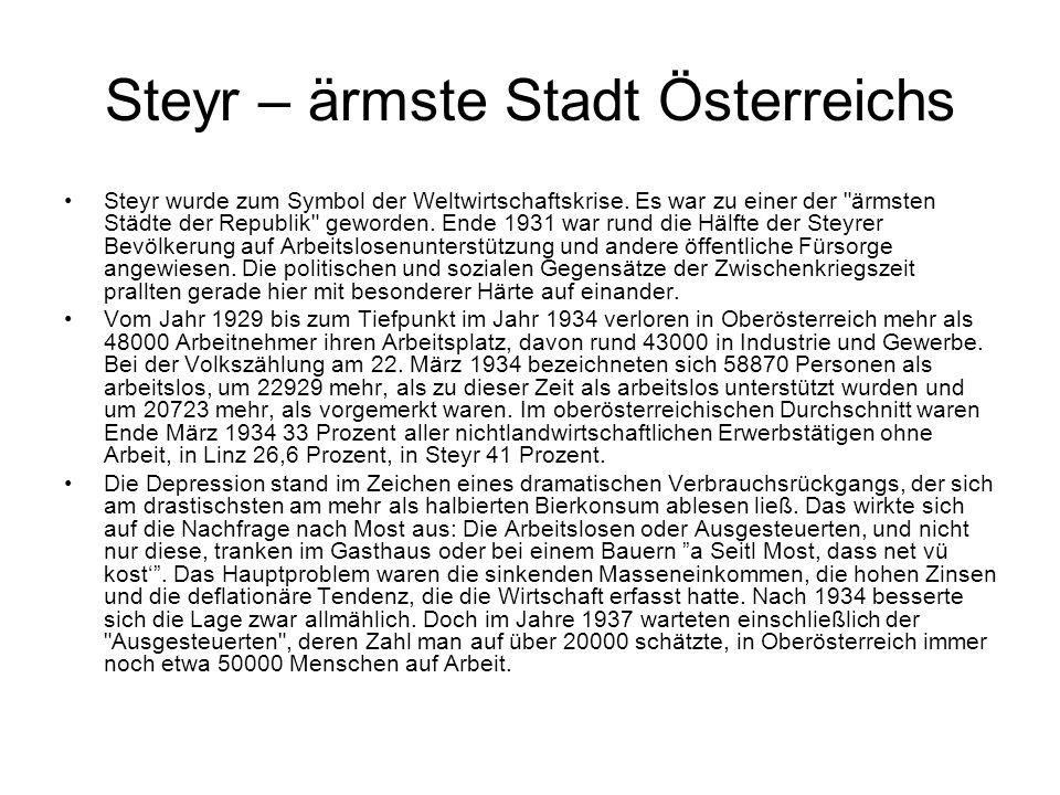 Steyr – ärmste Stadt Österreichs Steyr wurde zum Symbol der Weltwirtschaftskrise. Es war zu einer der