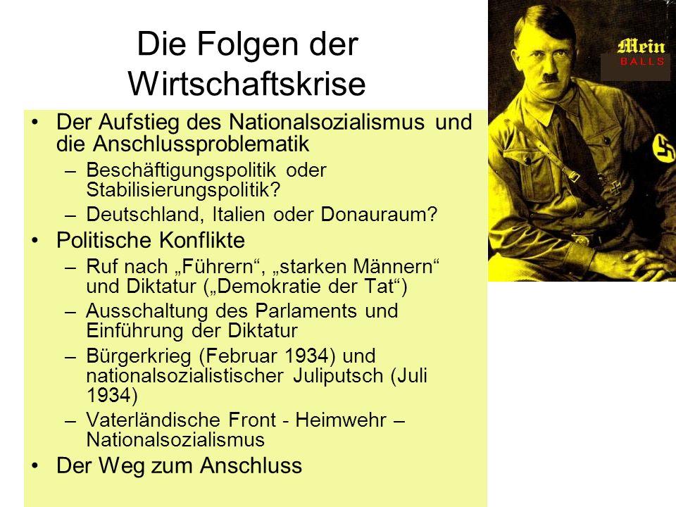 Die Folgen der Wirtschaftskrise Der Aufstieg des Nationalsozialismus und die Anschlussproblematik –Beschäftigungspolitik oder Stabilisierungspolitik?