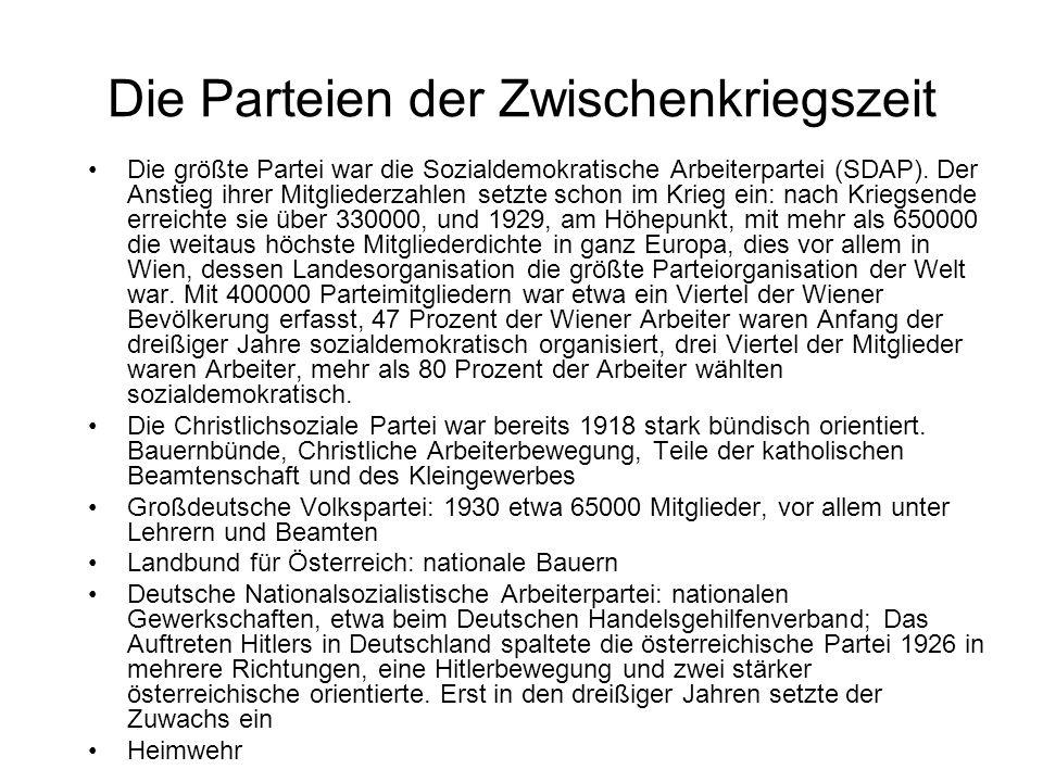 Die Parteien der Zwischenkriegszeit Die größte Partei war die Sozialdemokratische Arbeiterpartei (SDAP). Der Anstieg ihrer Mitgliederzahlen setzte sch