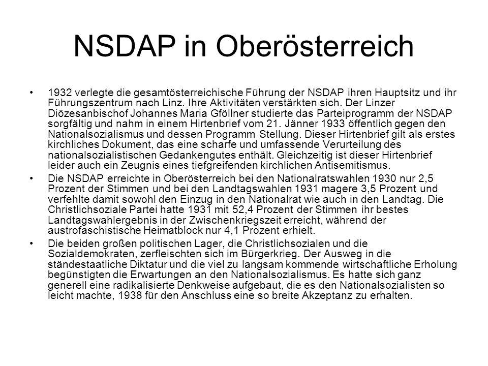 NSDAP in Oberösterreich 1932 verlegte die gesamtösterreichische Führung der NSDAP ihren Hauptsitz und ihr Führungszentrum nach Linz. Ihre Aktivitäten