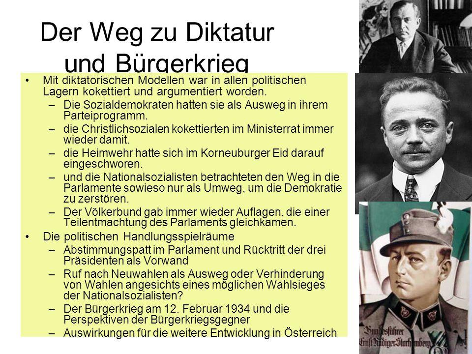 Der Weg zu Diktatur und Bürgerkrieg Mit diktatorischen Modellen war in allen politischen Lagern kokettiert und argumentiert worden. –Die Sozialdemokra
