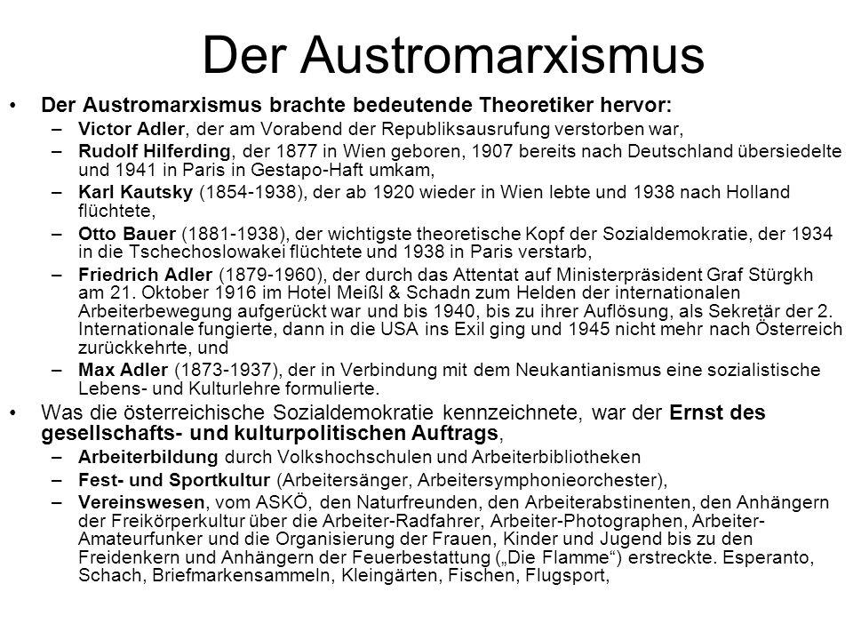 Der Austromarxismus Der Austromarxismus brachte bedeutende Theoretiker hervor: –Victor Adler, der am Vorabend der Republiksausrufung verstorben war, –