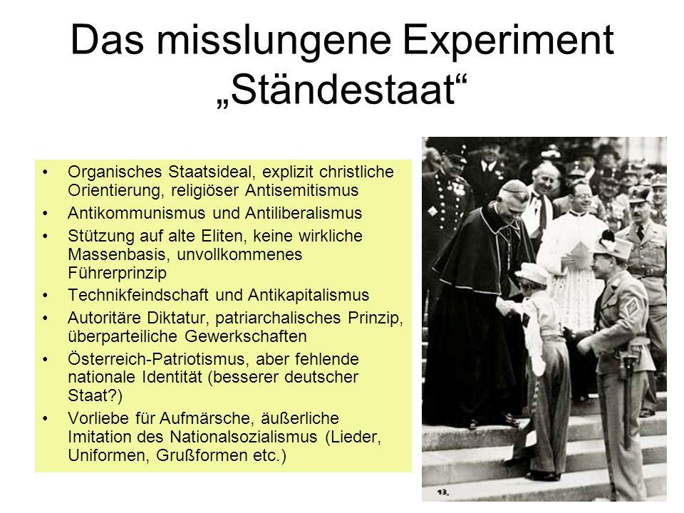 Das misslungene Experiment Ständestaat Organisches Staatsideal, explizit christliche Orientierung, religiöser Antisemitismus Antikommunismus und Antil