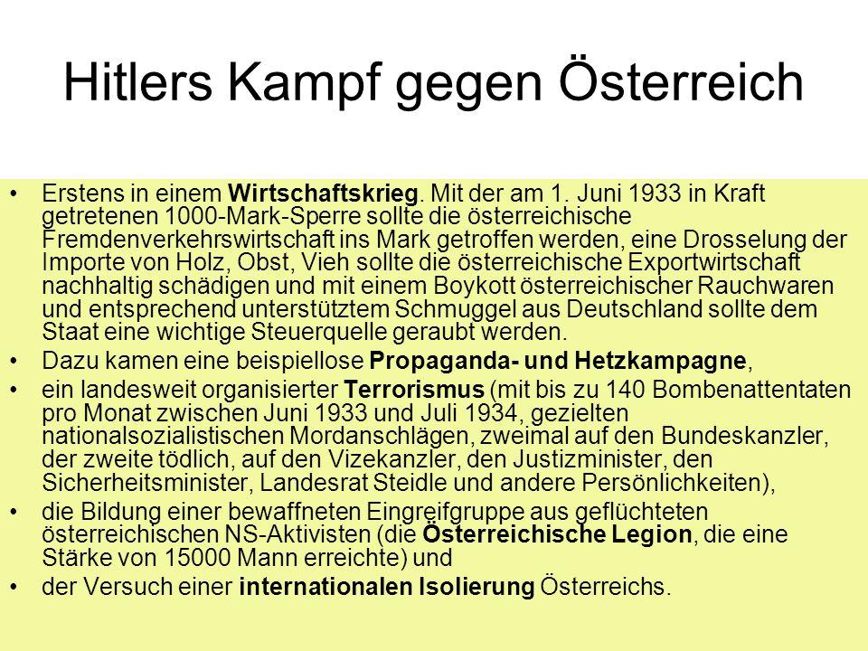 Hitlers Kampf gegen Österreich Erstens in einem Wirtschaftskrieg. Mit der am 1. Juni 1933 in Kraft getretenen 1000-Mark-Sperre sollte die österreichis