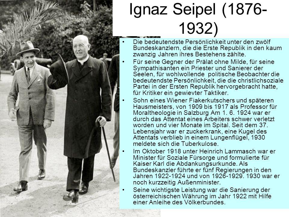 Die bedeutendste Persönlichkeit unter den zwölf Bundeskanzlern, die die Erste Republik in den kaum zwanzig Jahren ihres Bestehens zählte. Für seine Ge