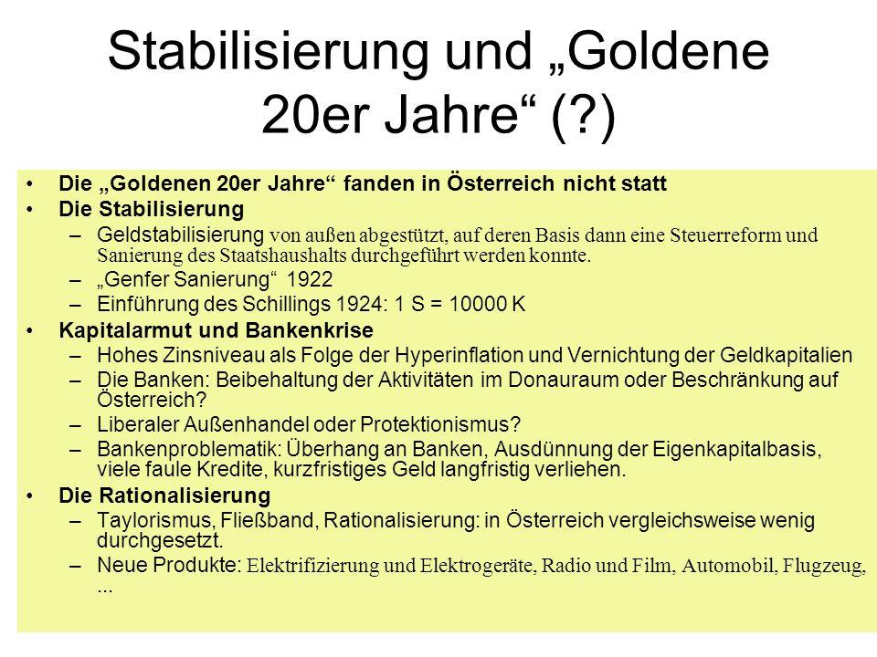 Stabilisierung und Goldene 20er Jahre (?) Die Goldenen 20er Jahre fanden in Österreich nicht statt Die Stabilisierung –Geldstabilisierung von außen ab