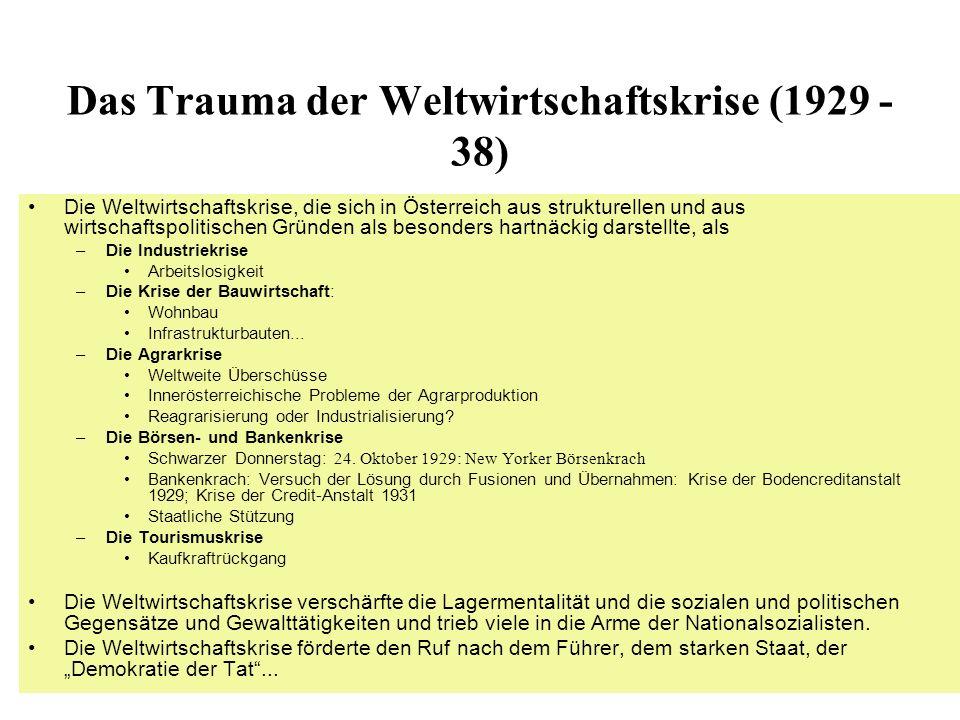 Das Trauma der Weltwirtschaftskrise (1929 - 38) Die Weltwirtschaftskrise, die sich in Österreich aus strukturellen und aus wirtschaftspolitischen Grün