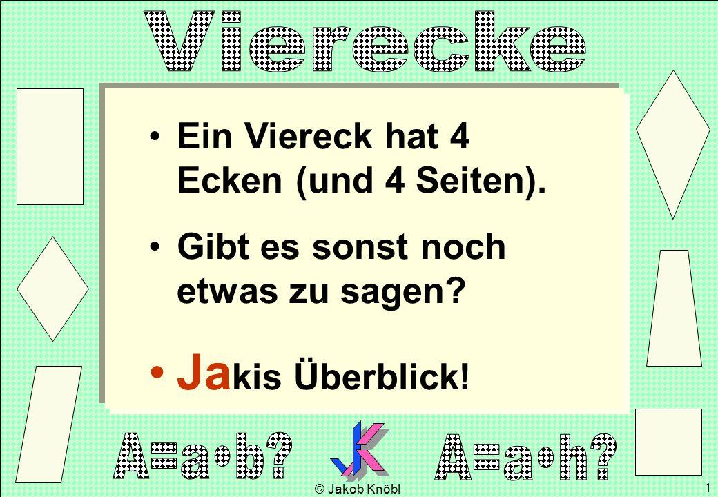 © Jakob Knöbl 1 Ein Viereck hat 4 Ecken (und 4 Seiten). Gibt es sonst noch etwas zu sagen? Ja kis Überblick!