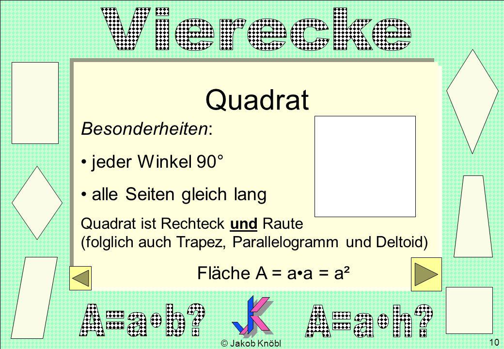© Jakob Knöbl 10 Quadrat Besonderheiten: jeder Winkel 90° alle Seiten gleich lang Quadrat ist Rechteck und Raute (folglich auch Trapez, Parallelogramm